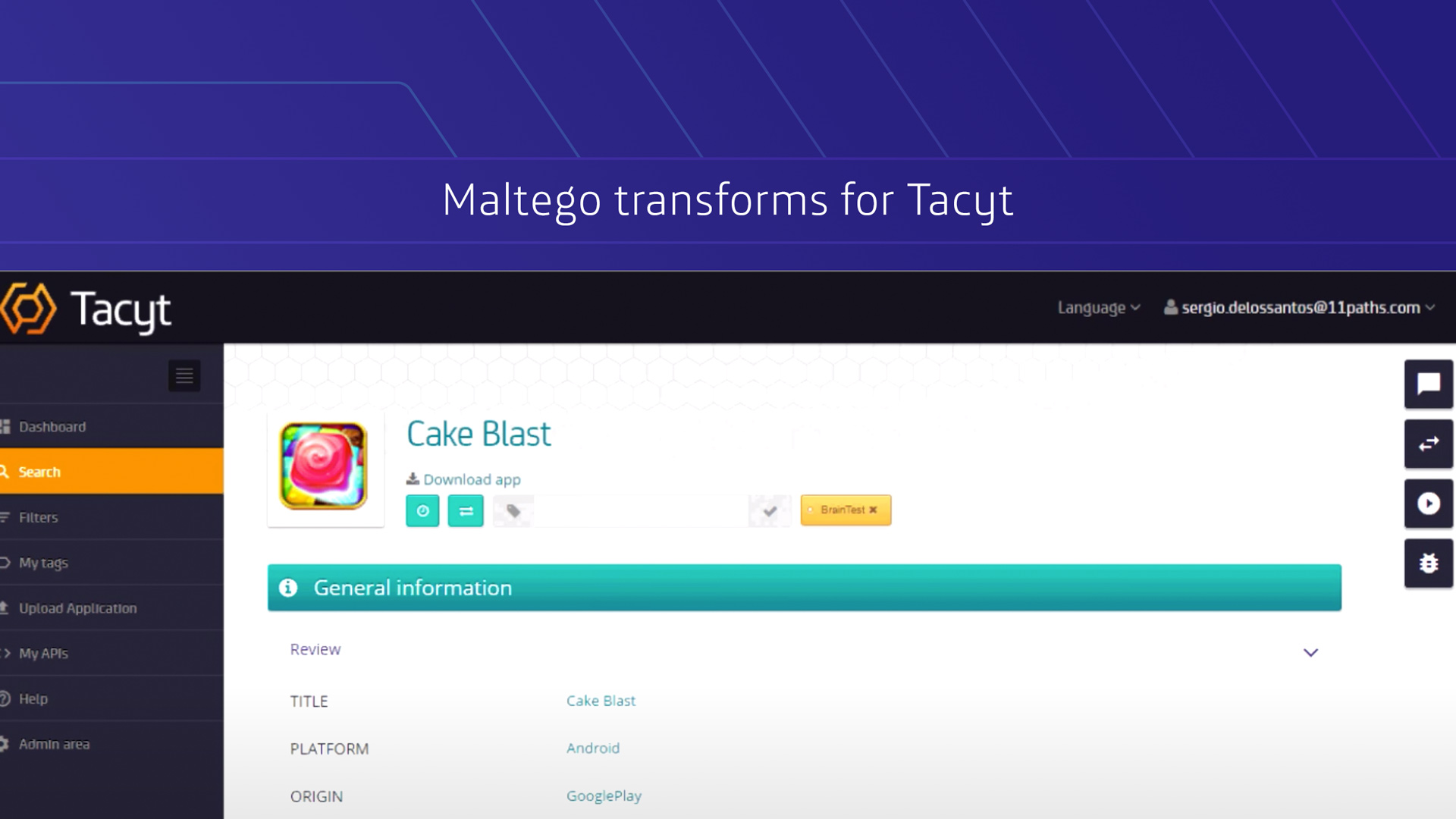Maltego Transforms for Tacyt video