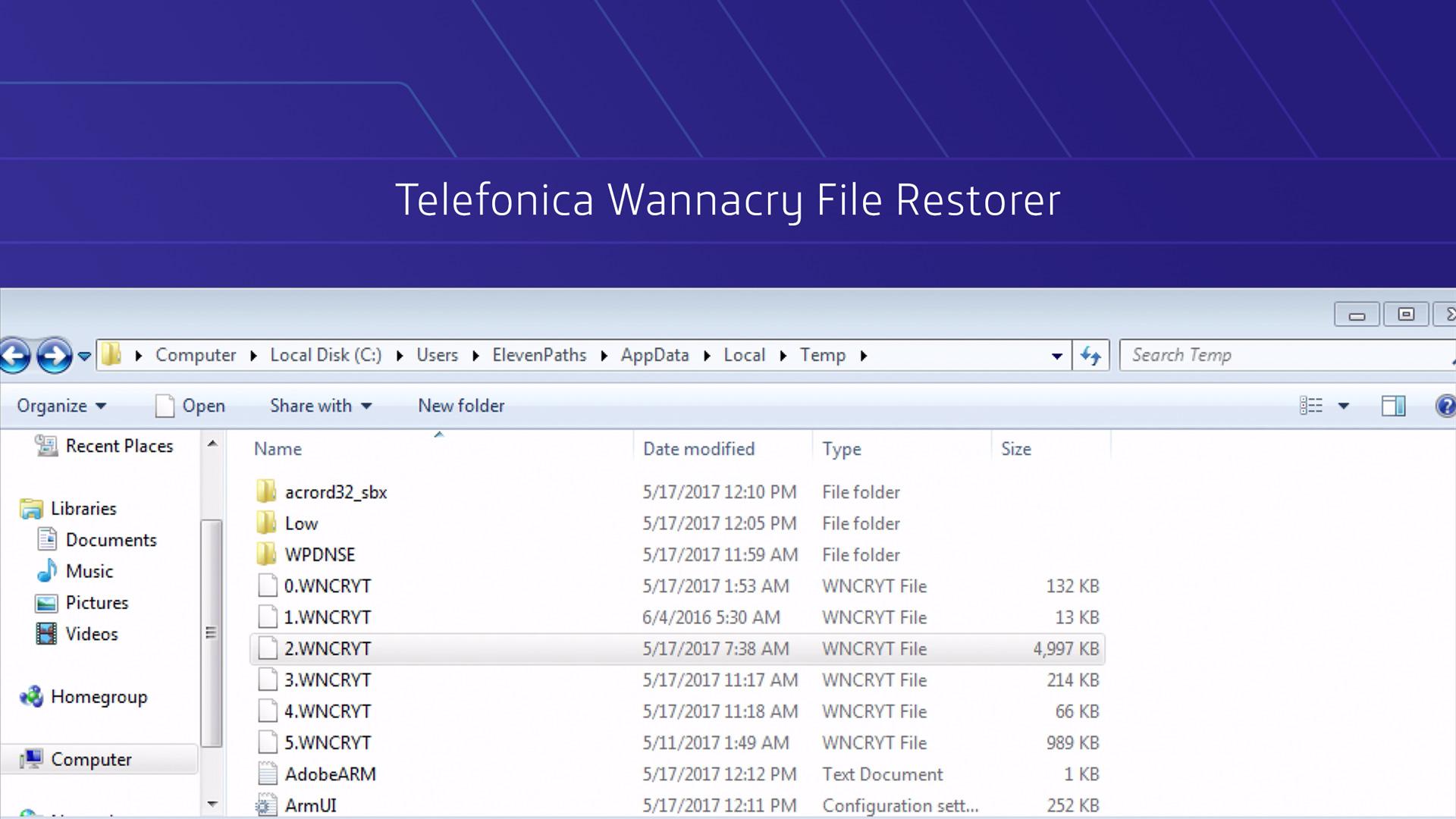 Vídeo Wannacry File Restorer