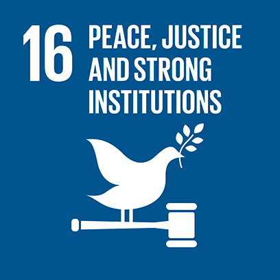 Logo for the goal for peace, justice and strong institutions
