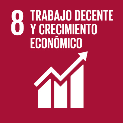 Logo de objetivo por el trabajo decente y crecimiento económico